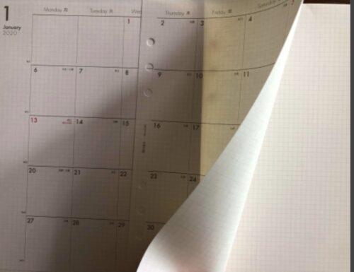 bindexの月間スケジュールの裏がメモページがわかる写真